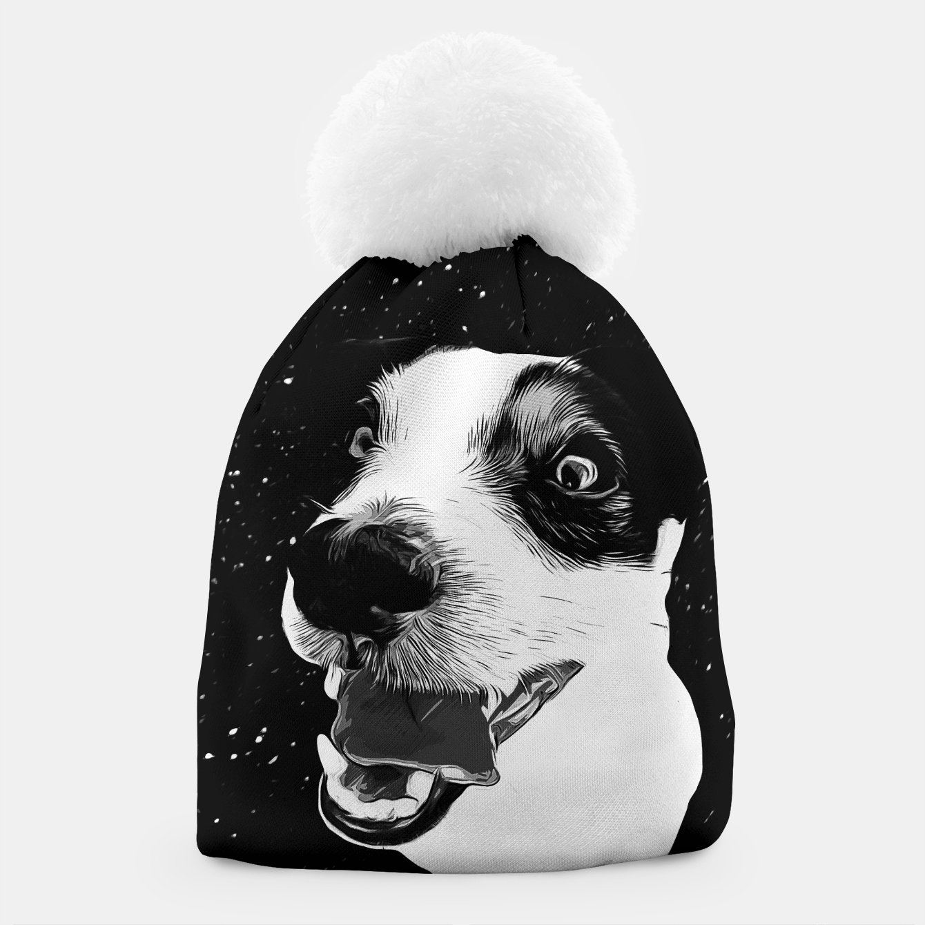 Image of jack russell terrier dog space crazy va bw Beanie - Live Heroes
