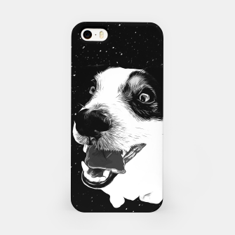 jack russell terrier dog space crazy va bw iPhone Case thumbnail image