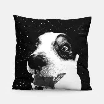 jack russell terrier dog space crazy va bw Pillow thumbnail image