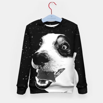 jack russell terrier dog space crazy va bw Kid's sweater thumbnail image