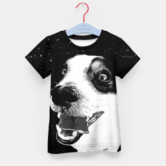 jack russell terrier dog space crazy va bw Kid's t-shirt thumbnail image