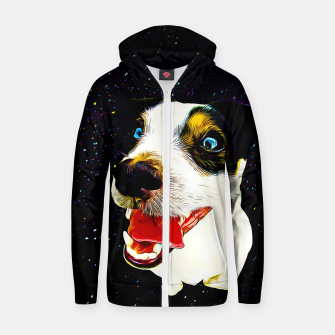 jack russell terrier dog space crazy va Zip up hoodie thumbnail image