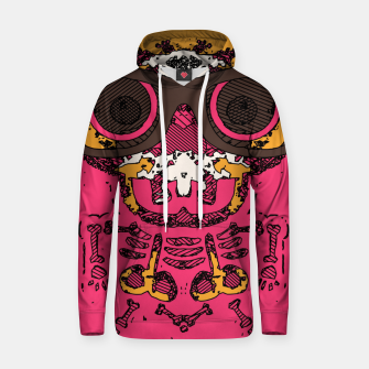 Thumbnail image of funny skull and bone graffiti drawing in orange brown and pink Hoodie, Live Heroes