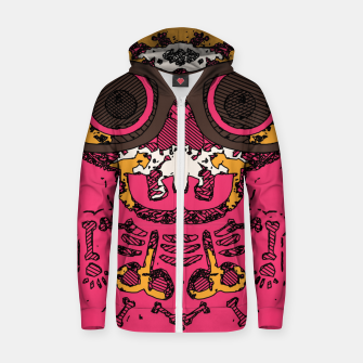Thumbnail image of funny skull and bone graffiti drawing in orange brown and pink Zip up hoodie, Live Heroes