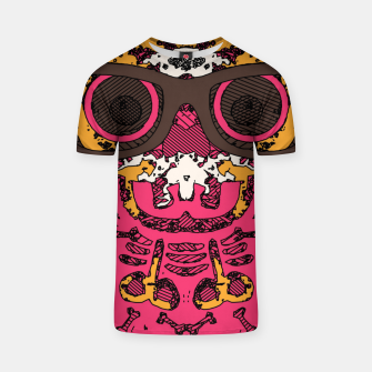 Thumbnail image of funny skull and bone graffiti drawing in orange brown and pink T-shirt, Live Heroes