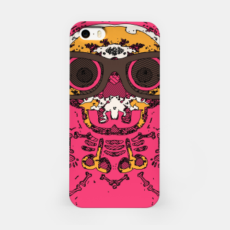 Miniature de image de funny skull and bone graffiti drawing in orange brown and pink iPhone Case, Live Heroes