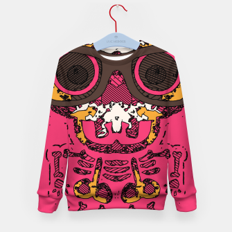 Miniature de image de funny skull and bone graffiti drawing in orange brown and pink Kid's sweater, Live Heroes