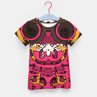 Thumbnail image of funny skull and bone graffiti drawing in orange brown and pink Kid's t-shirt, Live Heroes