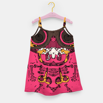 Thumbnail image of funny skull and bone graffiti drawing in orange brown and pink Girl's dress, Live Heroes