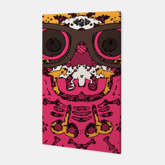 Miniaturka funny skull and bone graffiti drawing in orange brown and pink Canvas, Live Heroes