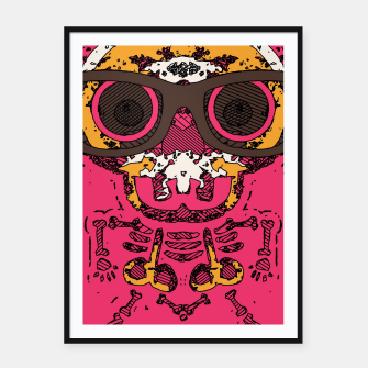 Miniaturka funny skull and bone graffiti drawing in orange brown and pink Framed poster, Live Heroes