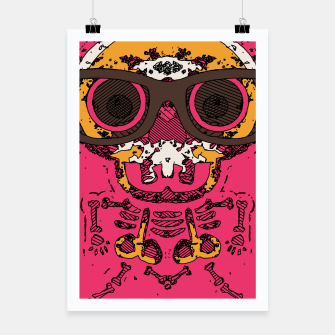 Miniaturka funny skull and bone graffiti drawing in orange brown and pink Poster, Live Heroes