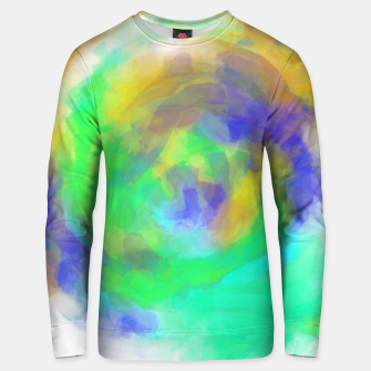 Miniatur splash painting texture abstract in green blue yellow Unisex sweater, Live Heroes
