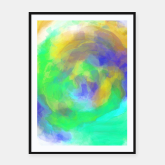 Miniature de image de splash painting texture abstract in green blue yellow Framed poster, Live Heroes