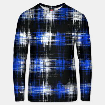 Imagen en miniatura de plaid pattern painting texture abstract in blue and black Unisex sweater, Live Heroes