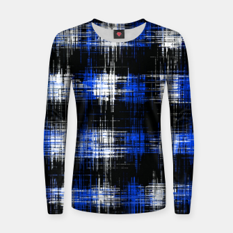 Thumbnail image of plaid pattern painting texture abstract in blue and black Women sweater, Live Heroes
