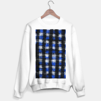 Imagen en miniatura de plaid pattern painting texture abstract in blue and black Sweater regular, Live Heroes