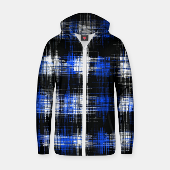 Imagen en miniatura de plaid pattern painting texture abstract in blue and black Zip up hoodie, Live Heroes
