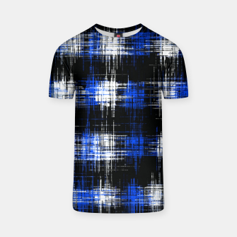 Imagen en miniatura de plaid pattern painting texture abstract in blue and black T-shirt, Live Heroes