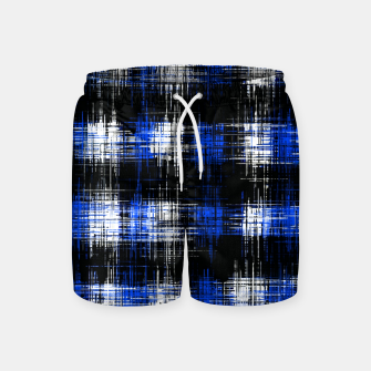 Imagen en miniatura de plaid pattern painting texture abstract in blue and black Swim Shorts, Live Heroes