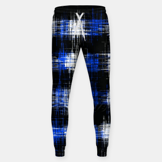 Imagen en miniatura de plaid pattern painting texture abstract in blue and black Sweatpants, Live Heroes