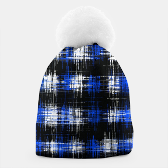 Imagen en miniatura de plaid pattern painting texture abstract in blue and black Beanie, Live Heroes