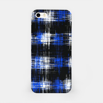 Imagen en miniatura de plaid pattern painting texture abstract in blue and black iPhone Case, Live Heroes