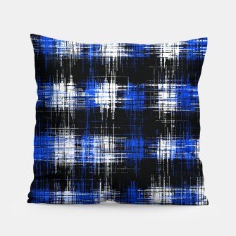 Imagen en miniatura de plaid pattern painting texture abstract in blue and black Pillow, Live Heroes