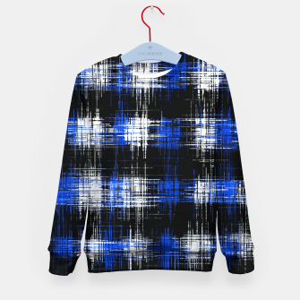 Imagen en miniatura de plaid pattern painting texture abstract in blue and black Kid's sweater, Live Heroes