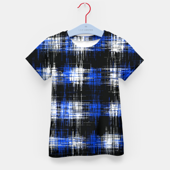 Imagen en miniatura de plaid pattern painting texture abstract in blue and black Kid's t-shirt, Live Heroes