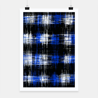 Imagen en miniatura de plaid pattern painting texture abstract in blue and black Poster, Live Heroes