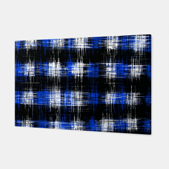 Imagen en miniatura de plaid pattern painting texture abstract in blue and black Canvas, Live Heroes
