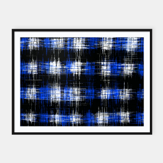 Imagen en miniatura de plaid pattern painting texture abstract in blue and black Framed poster, Live Heroes