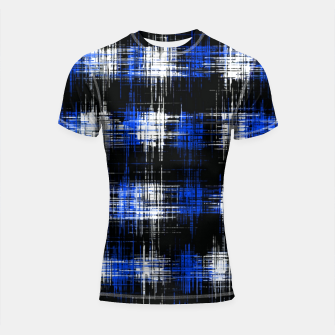 Imagen en miniatura de plaid pattern painting texture abstract in blue and black Shortsleeve rashguard, Live Heroes