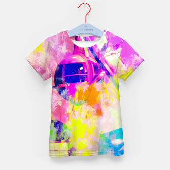Thumbnail image of Ferris wheel and modern building at Las Vegas, USA with colorful painting abstract background Kid's t-shirt, Live Heroes