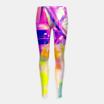 Thumbnail image of Ferris wheel and modern building at Las Vegas, USA with colorful painting abstract background Girl's leggings, Live Heroes