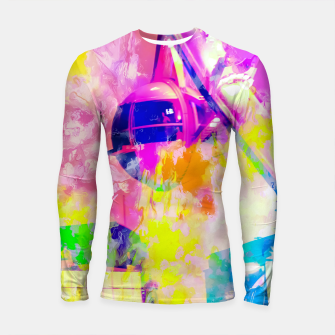 Thumbnail image of Ferris wheel and modern building at Las Vegas, USA with colorful painting abstract background Longsleeve rashguard , Live Heroes