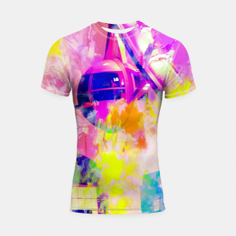 Thumbnail image of Ferris wheel and modern building at Las Vegas, USA with colorful painting abstract background Shortsleeve rashguard, Live Heroes