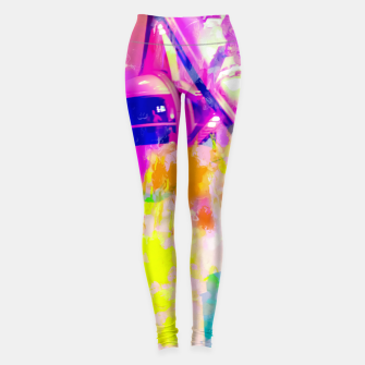 Thumbnail image of Ferris wheel and modern building at Las Vegas, USA with colorful painting abstract background Leggings, Live Heroes