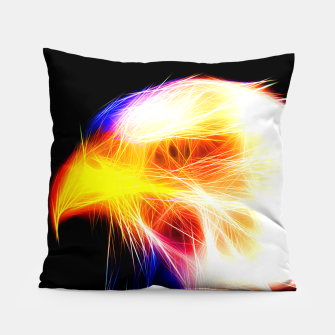 Thumbnail image of bald eagle 03 neon lines bright Pillow, Live Heroes