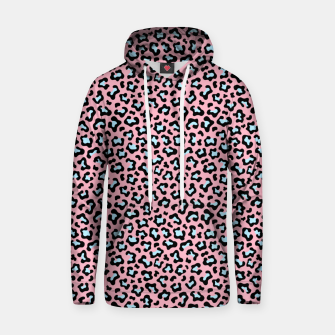 Leopard fur texture pattern: pink and blue background. Hoodie thumbnail image