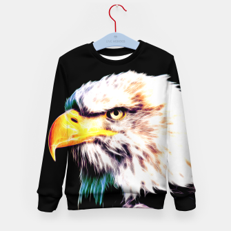 Thumbnail image of bald eagle 03 neon lines extraordinary Kid's sweater, Live Heroes