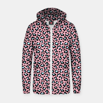 Leopard fur texture pattern: pink and blue background. Zip up hoodie thumbnail image