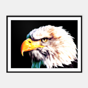 Thumbnail image of bald eagle 03 neon lines extraordinary Framed poster, Live Heroes