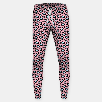 Leopard fur texture pattern: pink and blue background. Sweatpants thumbnail image