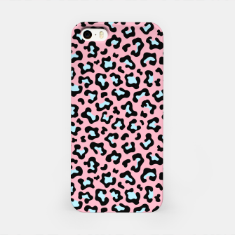 Leopard fur texture pattern: pink and blue background. iPhone Case thumbnail image