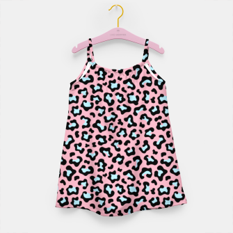 Thumbnail image of Leopard fur texture pattern: pink and blue background. Girl's dress, Live Heroes