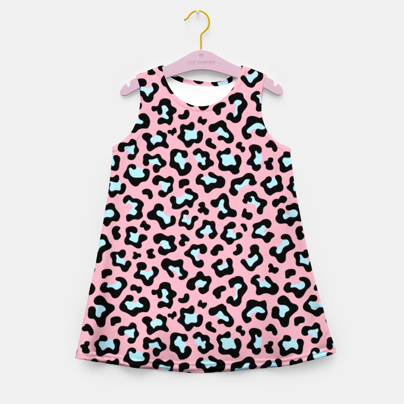 Image of Leopard fur texture pattern: pink and blue background. Girl's summer dress - Live Heroes