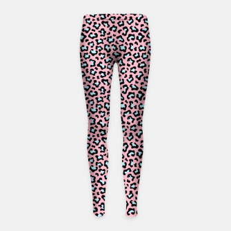 Thumbnail image of Leopard fur texture pattern: pink and blue background. Girl's leggings, Live Heroes