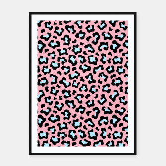 Thumbnail image of Leopard fur texture pattern: pink and blue background. Framed poster, Live Heroes